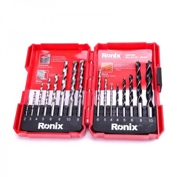Ronix: Bohrersatz 16-teilig (Metall 2-8 / Holz 4-10 / Stein 4-10 mm)