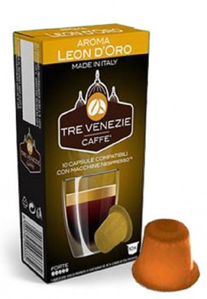 10 Kapseln - TRE VENEZIE | Leon D'Oro Forte | Nespresso kompatibel